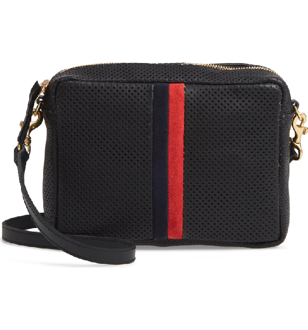 a33e575b4 Clare V Midi Sac Perforated Leather Crossbody Bag - Black In Black Perf  With Navy