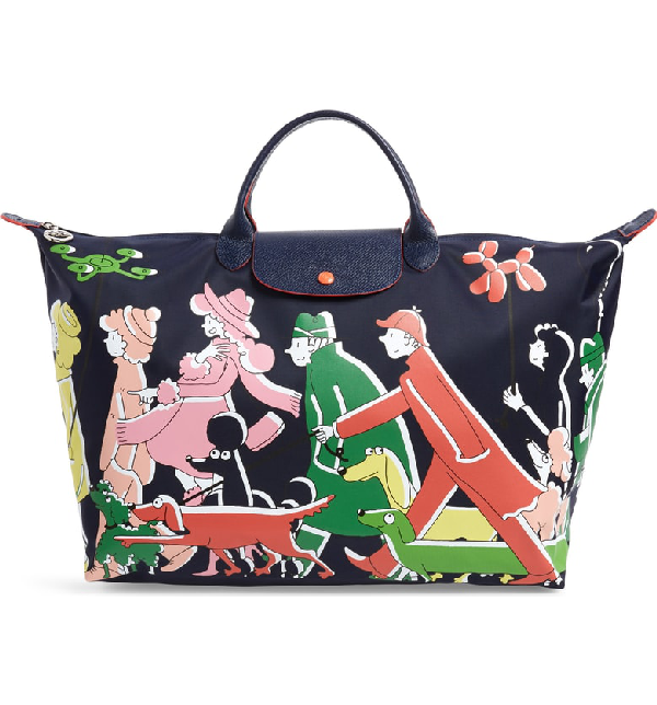 7fa209a5980 Longchamp X Clo'E Floirat Le Pliage Illustration Travel Bag In Multicolor
