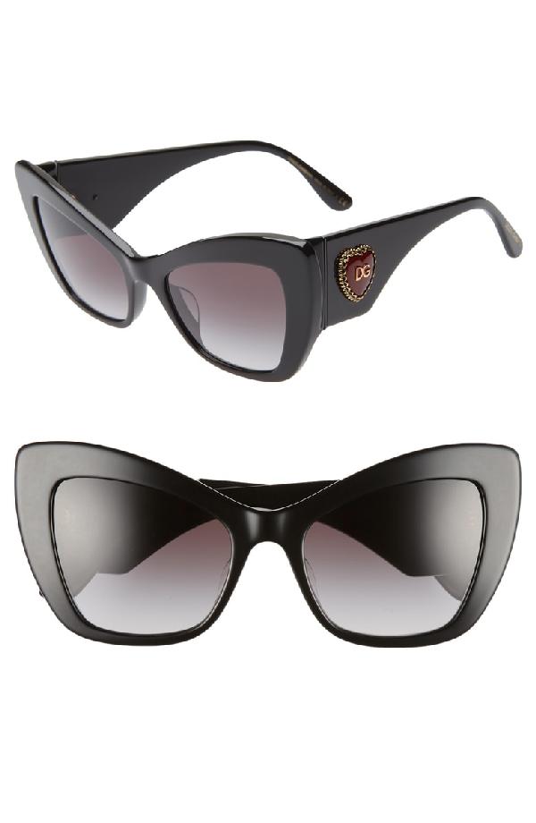 7bad19230fbd Dolce & Gabbana Sacred Heart 54Mm Gradient Cat Eye Sunglasses - Black  Gradient