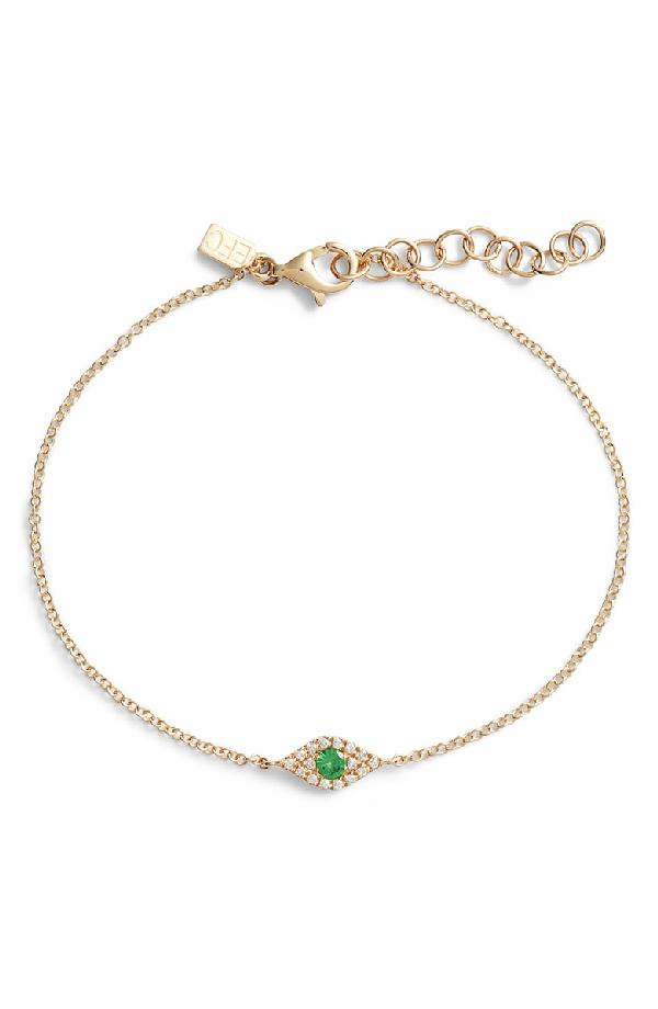 d9888bfc5bf8e Evil Eye Diamond & Tsavorite Line Bracelet in Yellow Gold