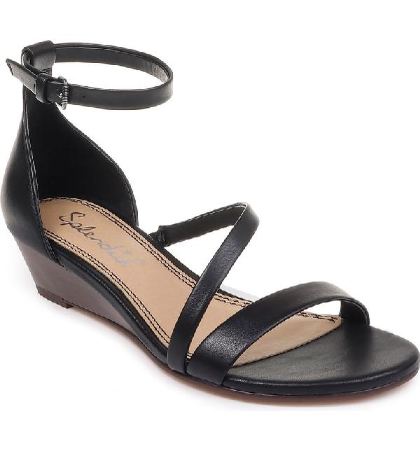 053bb7775 Splendid Stefano Strappy Wedge Sandal In Black Leather | ModeSens