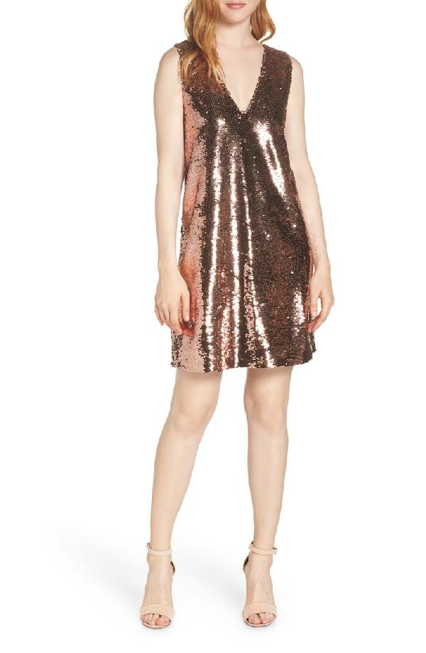 V Neck Sequin Shift Dress In Rose Gold