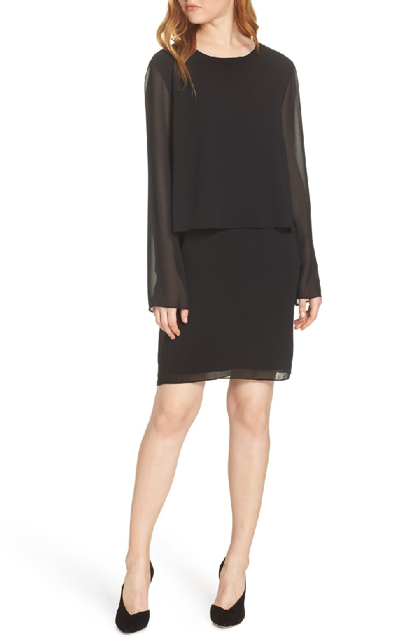 4e235ce0ea Charles Henry Layered Popover Chiffon Dress In Black