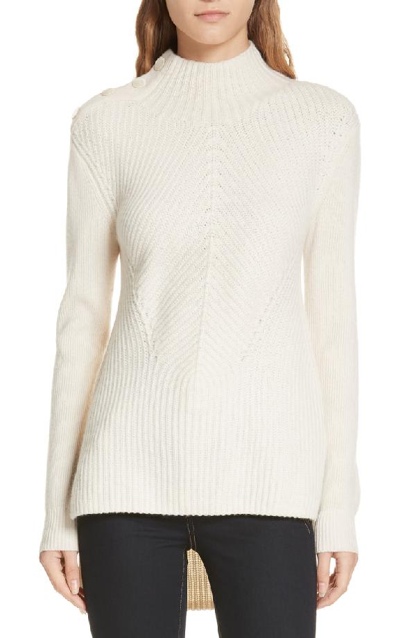 Veronica Beard Rama Merino Wool & Cashmere High/Low Sweater In Ivory
