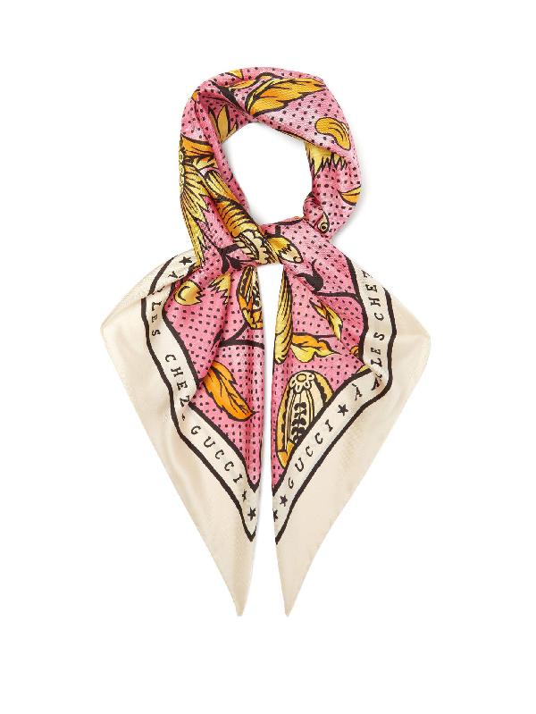 Gucci Alsacienne-print Floral-print Silk Scarf In Pink