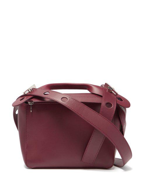Sophie Hulme Bolt Small Leather Shoulder Bag In Burgundy