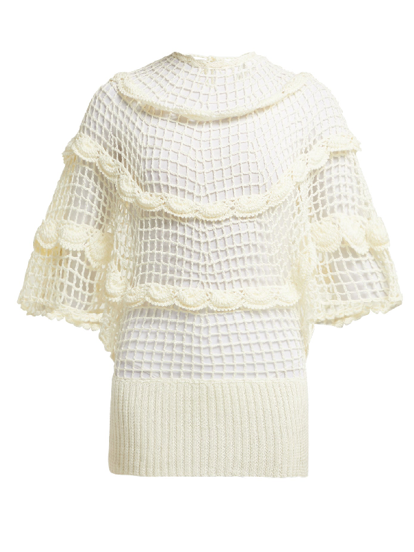 My Beachy Side Zinnia Crochet-knit Cotton Top In White