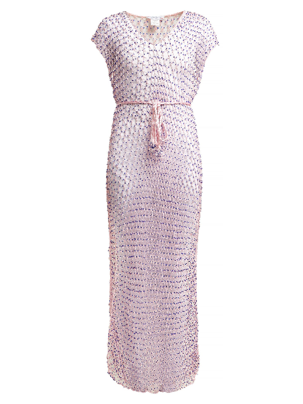 My Beachy Side Beaded Macramé Cover Up In Pink