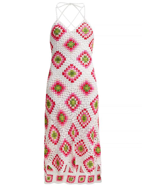 My Beachy Side Sexy Granny Crochet-knit Cotton Midi Dress In White Multi