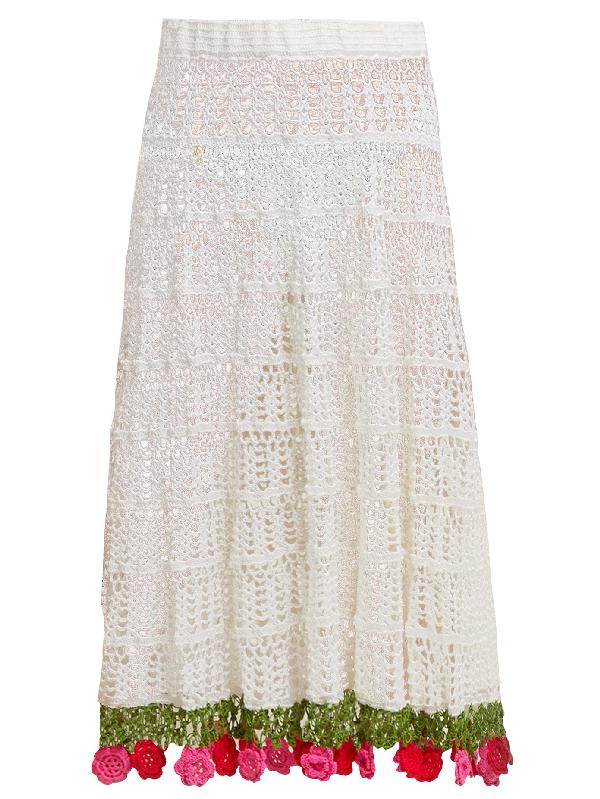 My Beachy Side Carmen Crocheted-cotton Midi Skirt In White Multi