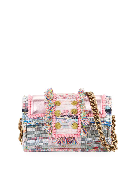 Kooreloo Hollywood Babe Woven Front-flap Bag W/ Crossbody Chain Strap In Pink Pattern