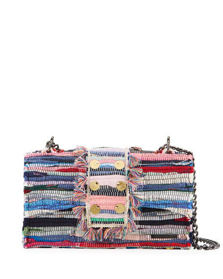 Kooreloo New Yorker Woven Front-flap Bag W/ Removable Crossbody Chain Strap In Multi