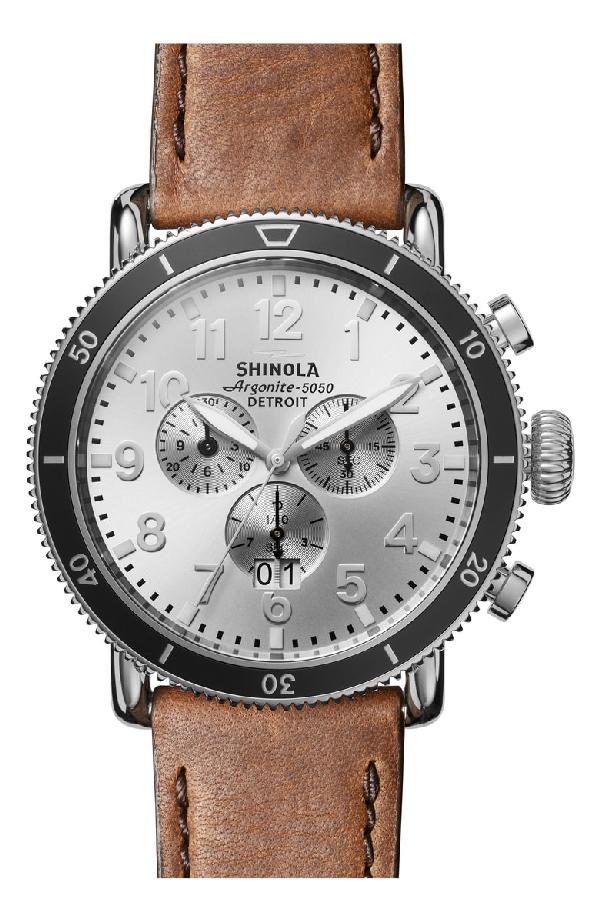 Shinola Runwell Brown Leather Strap Sport Chronograph, 48mm In British Tan/ Silver Sunray