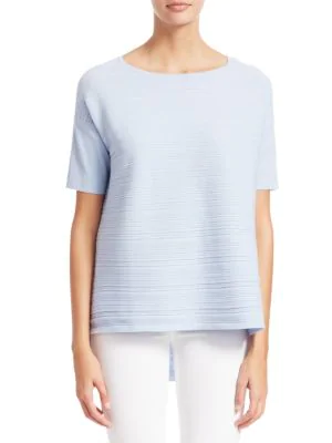 Saks Fifth Avenue Collection Textured Short Sleeve Pullover In Cloud Blue