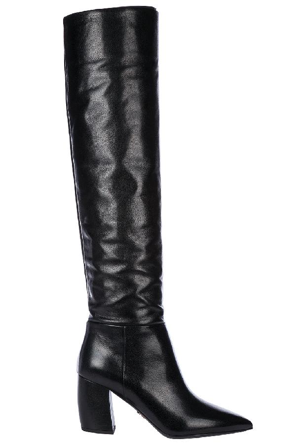 Prada Women's Leather Heel Boots In Black