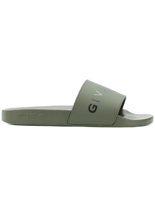 Givenchy Logo-Print Rubber Slides - Army Green