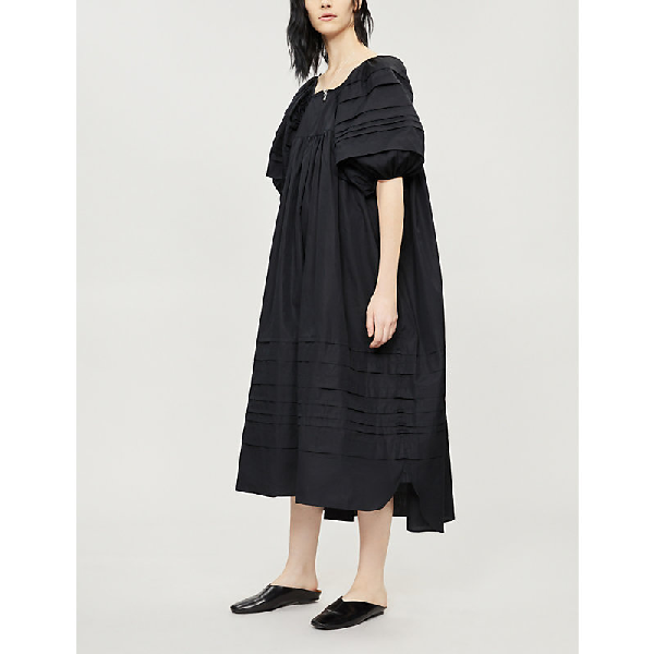 Penelope Puffed-Sleeve Cotton Dress in Black