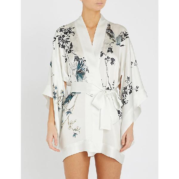 078554374 Meng Floral-Print Silk-Satin Kimono In White | ModeSens
