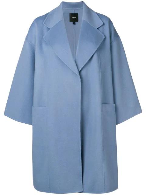 Theory Oversized Coat In Wgo Blue