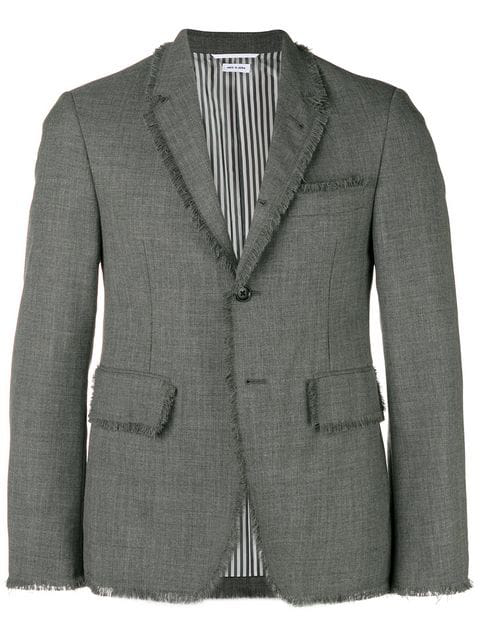 Thom Browne Frayed Edge Sport Coat In Grey