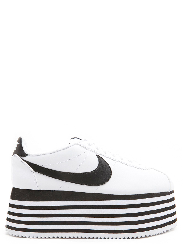 outlet store 86878 d6f86 Comme Des Garçons X Nike Cortez Striped Wedge Platform Sneakers in White