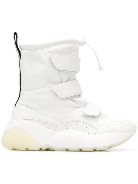 Stella Mccartney Eclypse Logo-Woven Faux Leather Snow Boots In White