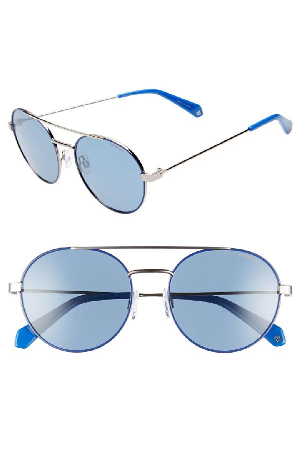e98ab351e38d4 Polaroid 55Mm Polarized Round Aviator Sunglasses - Blue  Silver ...