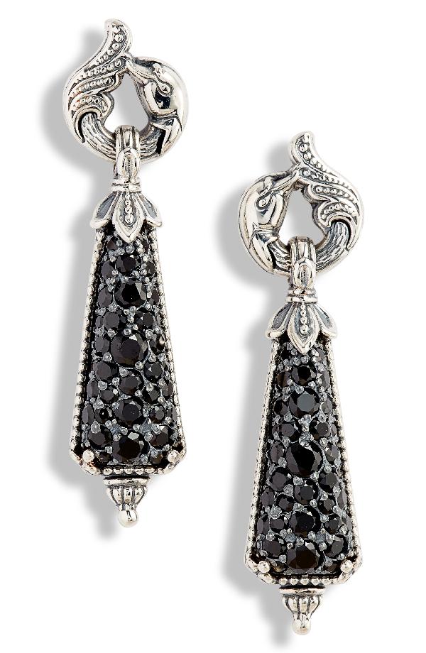 Konstantino Circe Black Spinel Drop Earrings In Silver