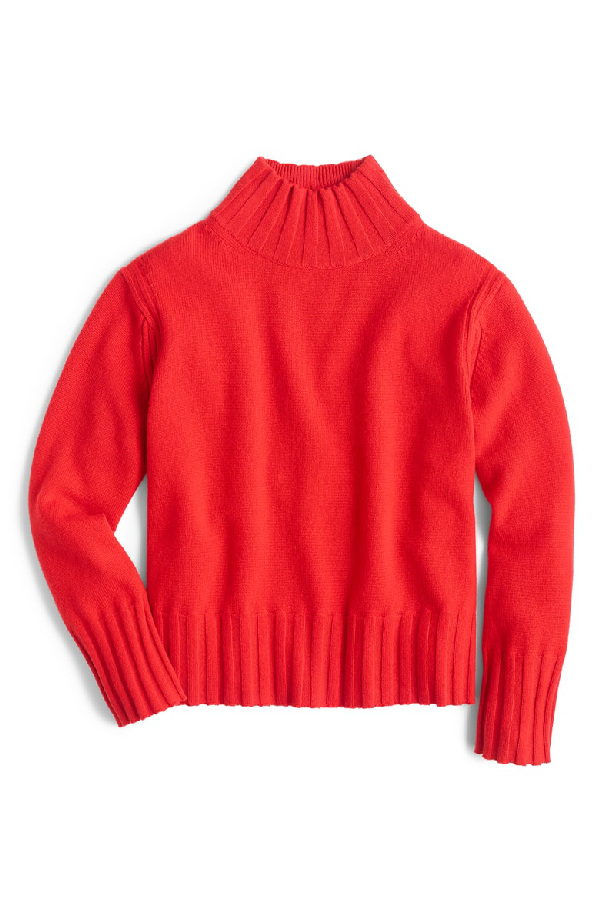 J.Crew Relaxed Mock Neck Cashmere Sweater In Bright Cerise
