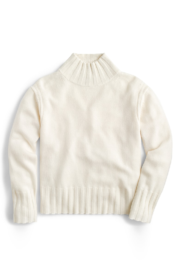 J.Crew Relaxed Mock Neck Cashmere Sweater In Natural
