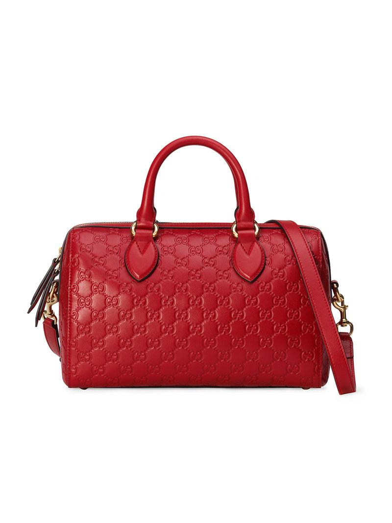 cf03f8c4b32 Gucci Signature Medium Top Handle Bag In Red