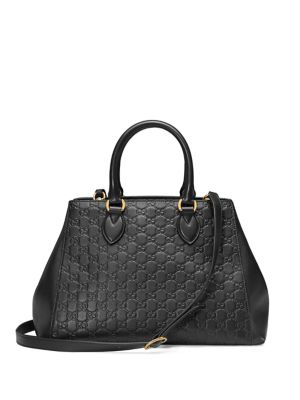 0a58ecaf747 Gucci Large Top Handle Signature Soft Leather Tote - Black