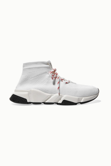 Balenciaga Speed Stretch-Knit High-Top Sneakers In 9000 White