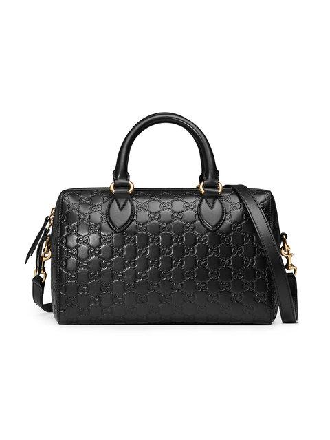 5e38384aa95 Gucci Medium Signature Top Handle Leather Satchel - Black