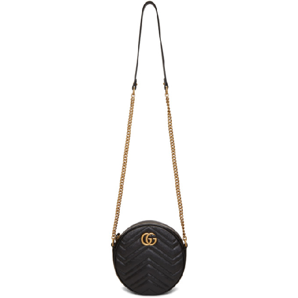 Gucci Gg Marmont Circle Quilted Leather Shoulder Bag In 1000 Black