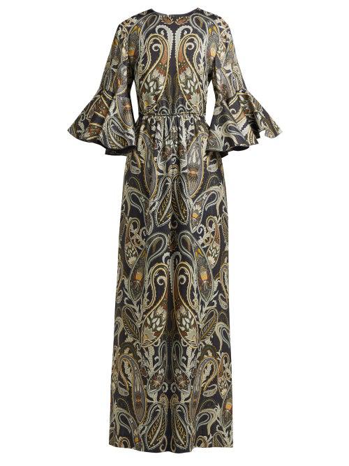ChloÉ Paisley Silk-Blend Jacquard Maxi Dress In Black