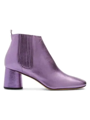 241cf6e30a2d A metallic finish adds a glam rock attitude to these block heel Chelsea  booties. Calf leather upper. Square toe. Elasticized gore with pull-tab at  back heel