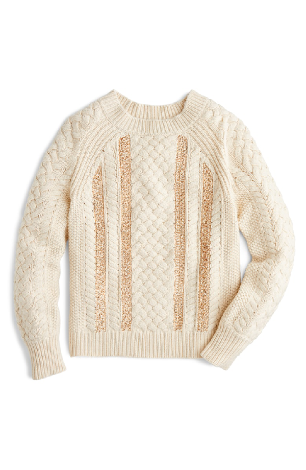 J.Crew Cable Knit Sequin Sweater In Natural