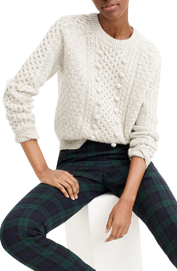 J.Crew Popcorn Cable Knit Sweater In Heather Dusk