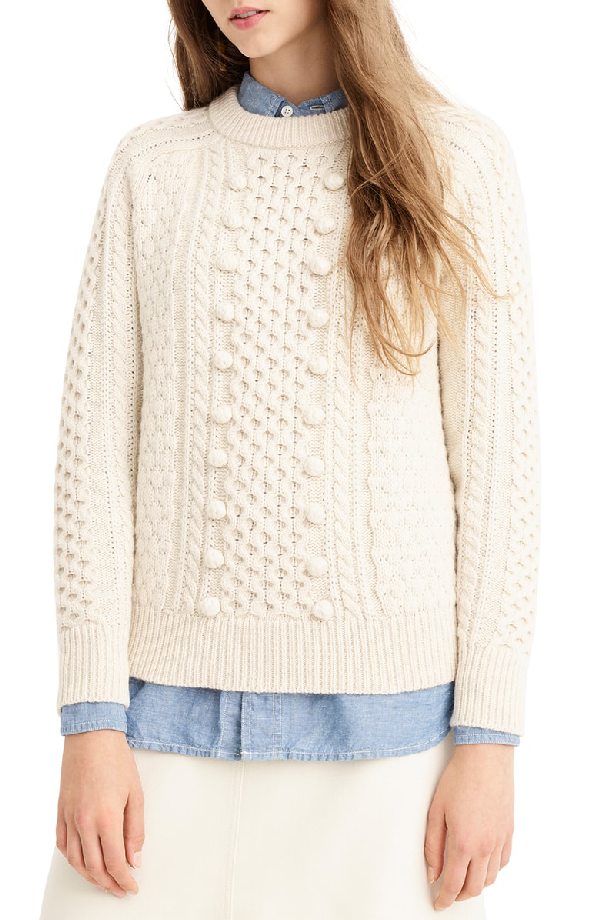 J.Crew Popcorn Cable Knit Sweater In Natural