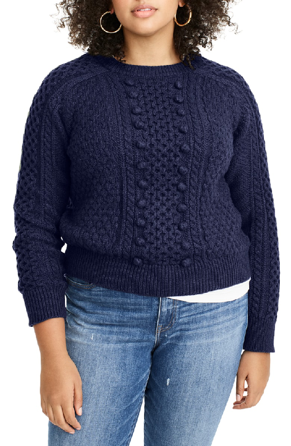 J.Crew Popcorn Cable Knit Sweater In Navy