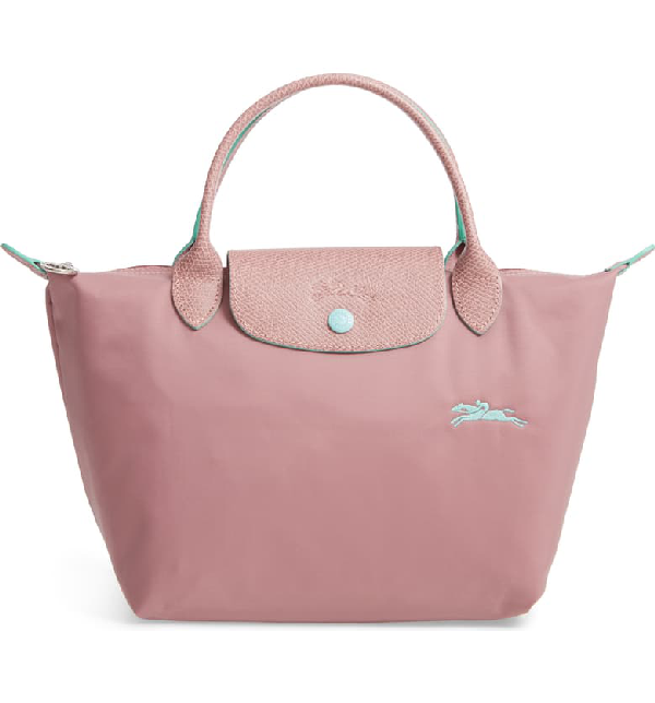 Le Pliage Club Small Nylon Travel Bag In Antique Pink/silver
