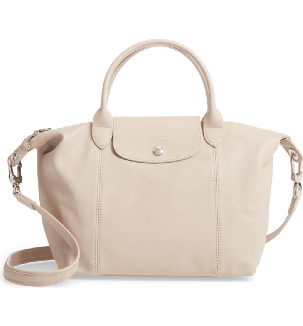 Small 'le Pliage Cuir' Leather Top Handle Tote - Beige In Beige Clay
