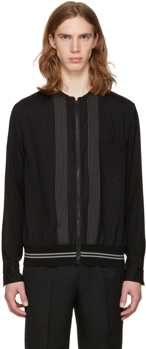 Lanvin Men's Embroidered Zip-up Shirt Jacket In Black