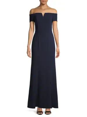 Calvin Klein Notched Off-the-shoulder Gown In Twilight
