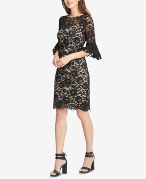 Lace Bell Sleeve Sheath Dress Created For Macys In Black