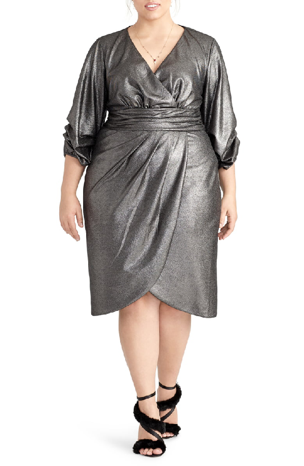 Trendy Plus Size Metallic Wrap Dress in Silver