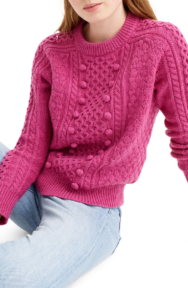 J.Crew Popcorn Cable Knit Sweater In Heather Fresh Berry