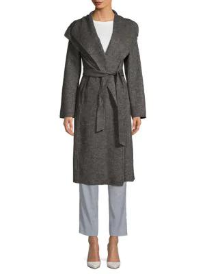 T Tahari Elliot Long Wool Wrap Coat In Grey Twill