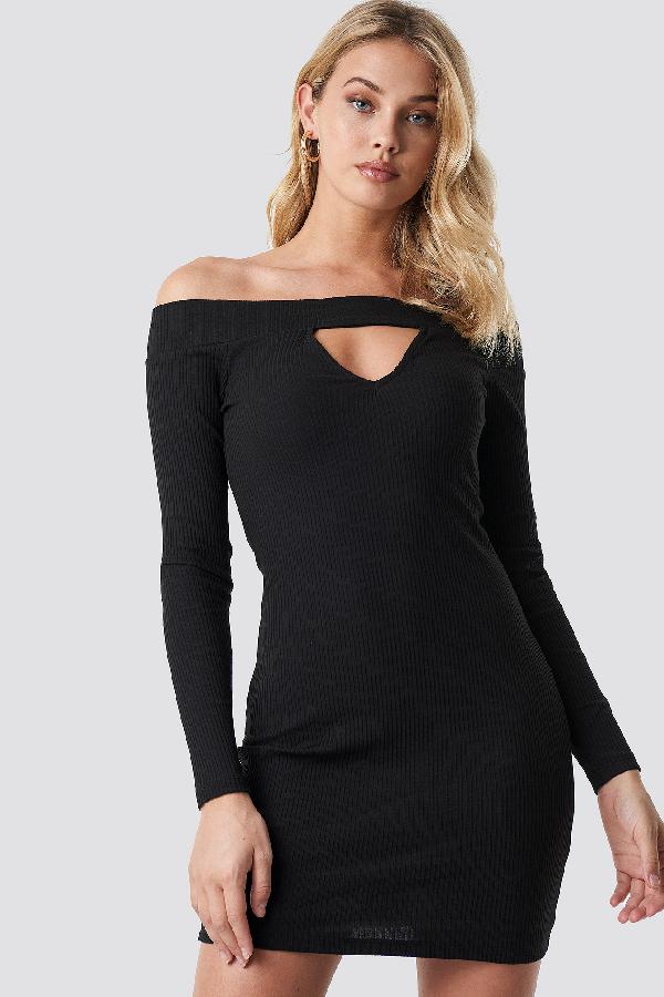 1f788d6a555 Anna Nooshin X Na-Kd Off Shoulder Cut Out Ribbed Dress - Black